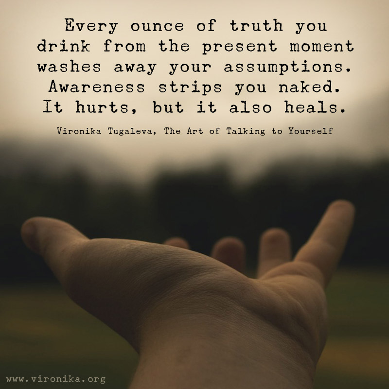 Every ounce of truth you drink from the present moment washes away your assumptions. Awareness strips you naked. It hurts, but it also heals. Quote by Vironika Tugaleva from her book The Art of Talking to Yourself.
