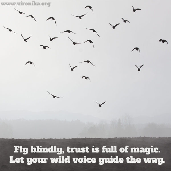 Fly blindly, trust is full of magic. Let your wild voice guide the way. Quote by Vironika Tugaleva.