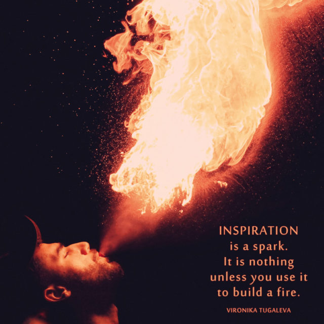 """""""Inspiration is a spark. It is nothing unless you use it to build a fire."""" ~Vironika Tugaleva"""