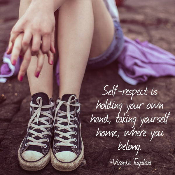 Self-respect is holding your own hand, taking yourself home, where you belong. Quote by Vironika Tugaleva.