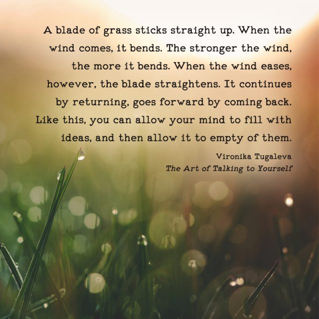 A blade of grass sticks straight up. When the wind comes, it bends. The stronger the wind, the more it bends. When the wind eases, however, the blade straightens. It continues by returning, goes forward by coming back. Like this, you can allow your mind to fill with ideas, and then allow it to empty of them. This quote is by Vironika Tugaleva from her book The Art of Talking to Yourself.